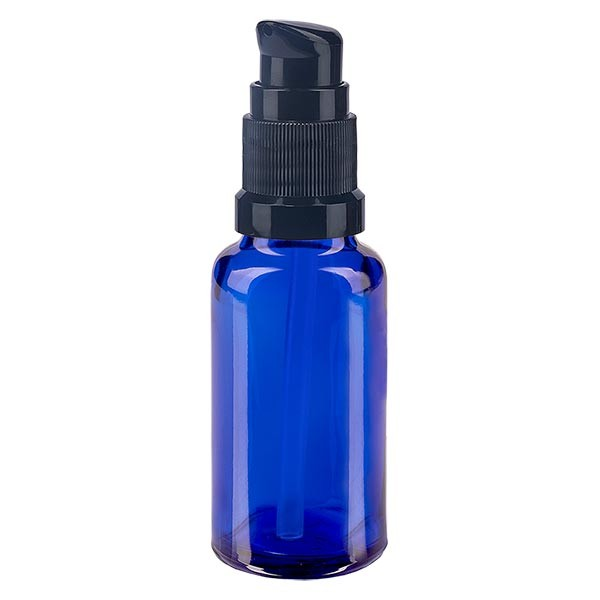 Blauwe glazen flessen 20ml met zwart pompsluiting