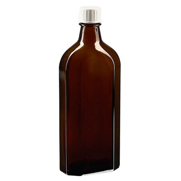 250 ml bruine meplatfles met DIN 22 monding, inclusief schroefsluiting DIN 22 wit met gietring