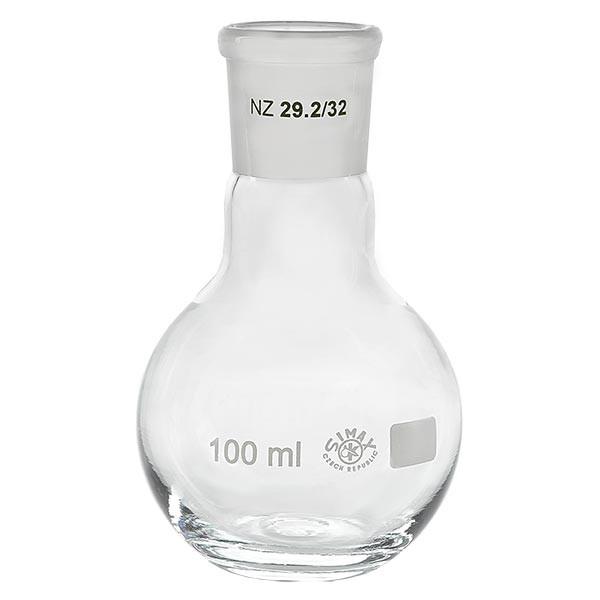 Platbodem kolf 100ml wijde hals borosilicaat met slijpstuk 29/32