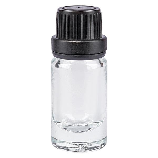 Helder glazen flessen 5ml met zwart druppelsluiting 2mm VR