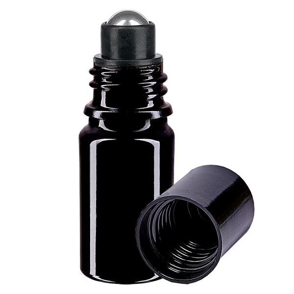 Glas deostick fles violet 5ml, lege deo roller (Roll On)