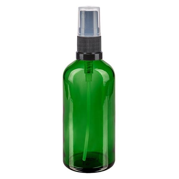Groenen glazen flessen 100ml met zwart pompverstuiver