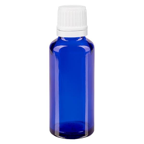 Blauwe glazen flessen 30ml met wit druppelsluiting 1.2mm VR