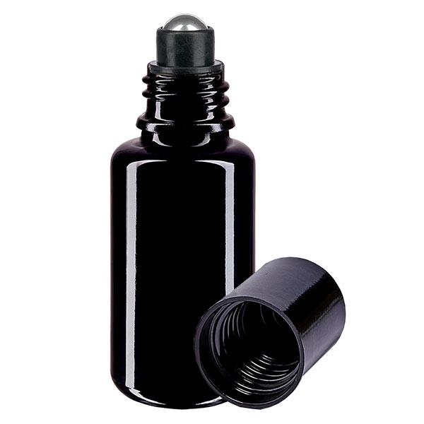 Glas deostick fles violet 20ml, lege deo roller (Roll On)