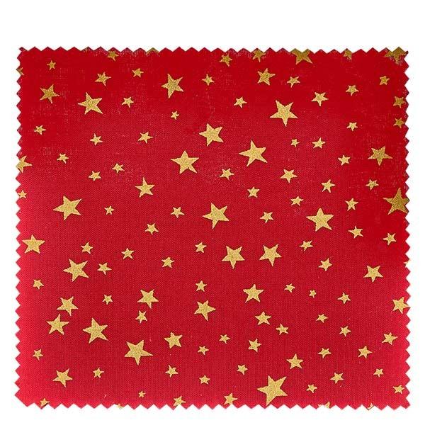 1 x stoffen lapje 150x150mm rood met gouden sterren voor deksel diameter 43-100mm