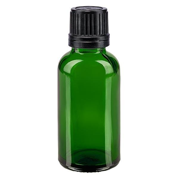 Groenen glazen flessen 30ml met zwart schroefsluiting uitgietring VR