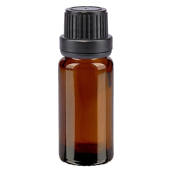Bruine glazen fles 10ml met zwart schroefsluiting dicht. VR