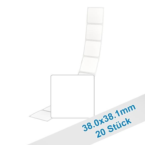 20 etiketten, wit, verwijderbaar 38.1x38mm