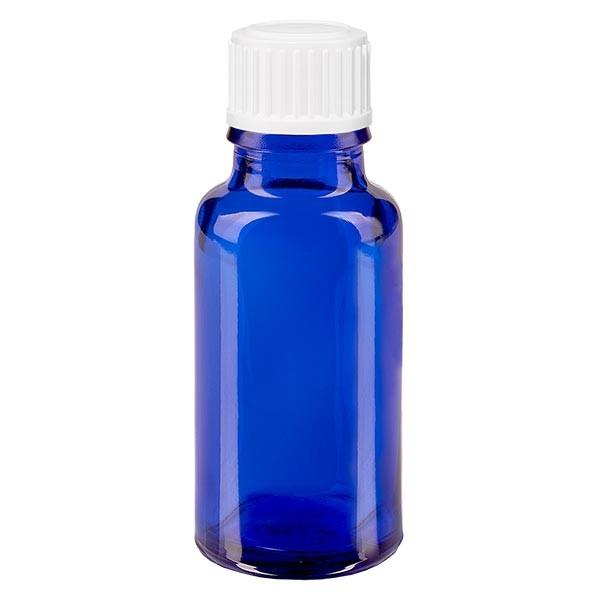 Blauwe glazen flessen 20ml met wit 0.8mm druppelstop St