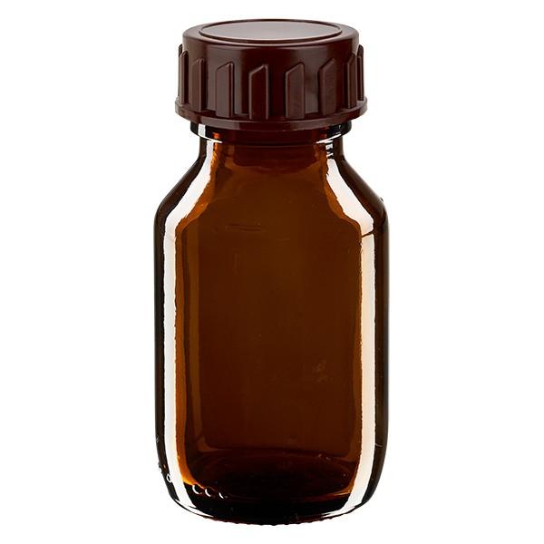 50ml Euro-medicijnfles bruin met bruine schroefsluiting