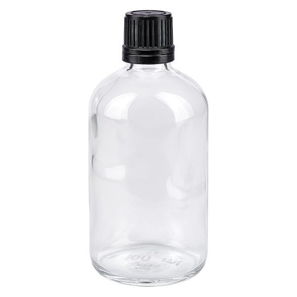 Helder glazen flessen 100ml met zwart schroefsluiting uitgietring VR