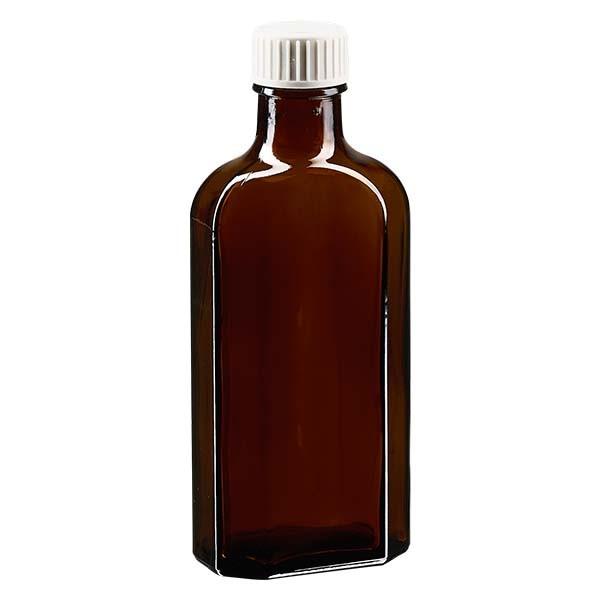 125 ml bruine meplatfles met DIN 22 monding, inclusief schroefsluiting DIN 22 wit met PE-schuiminzetstuk