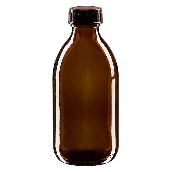 250ml Euro-medicijnfles bruin met bruine schroefsluiting