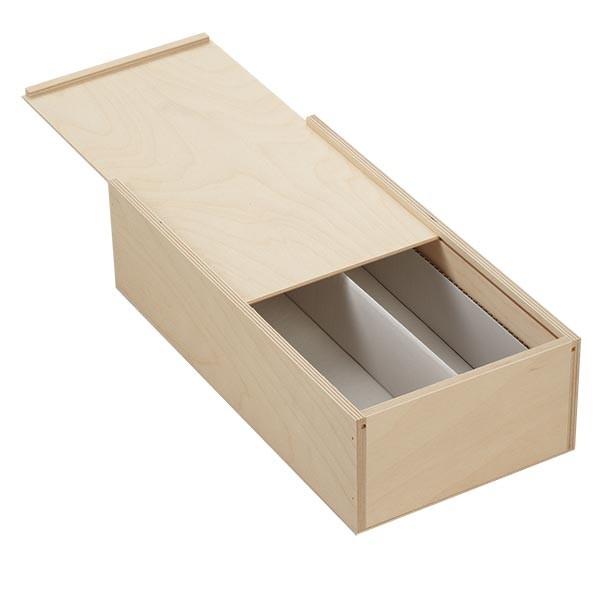 Houten box met schuifdeksel 36x18x10cm (voor flessen)