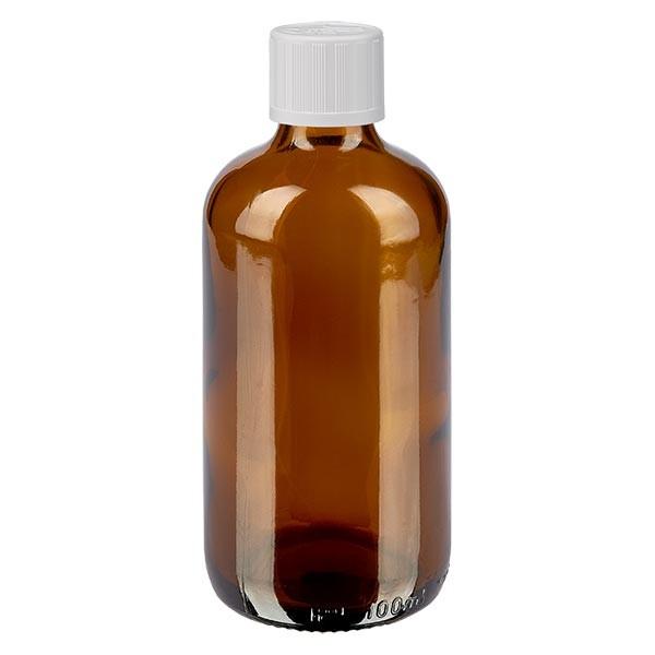 Bruine glazen fles 100ml met wit schroefsluiting kinderslot St