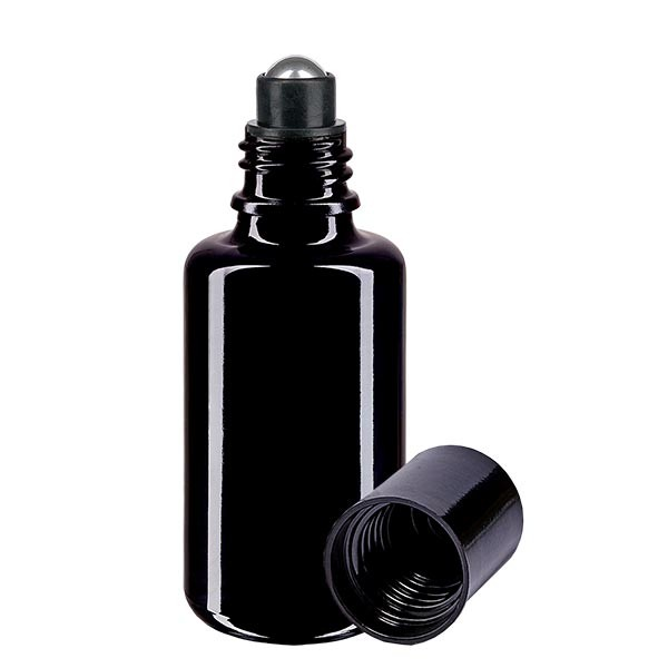 Glas deostick fles violet 30ml, lege deo roller (Roll On)