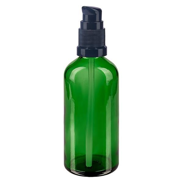 Groenen glazen flessen 100ml met zwart pompsluiting
