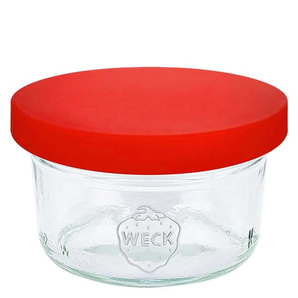 WECK-mini stortglas 50ml met rood siliconenhoes