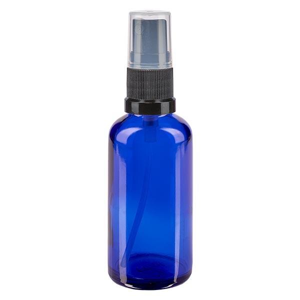 Blauwe glazen flessen 50ml met zwart pompverstuiver