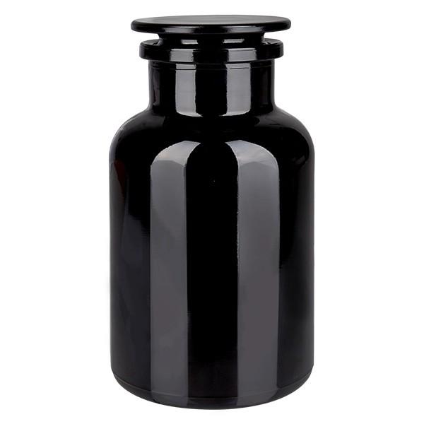 Apothekersfles 1000 ml wijde hals violetglas incl. glazen stop