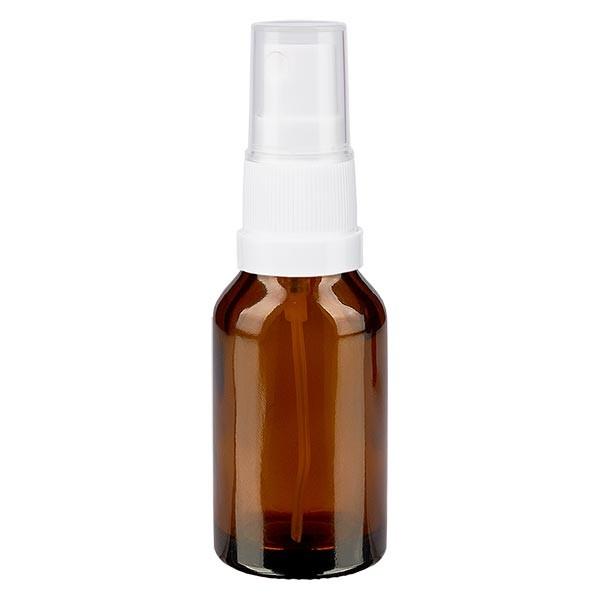 Bruin glazen flessen 30ml met wit pompverstuiver