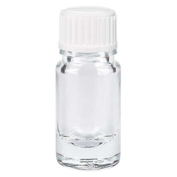 Helder glazen flessen 5ml met wit druppelsluiting 0.8mm St