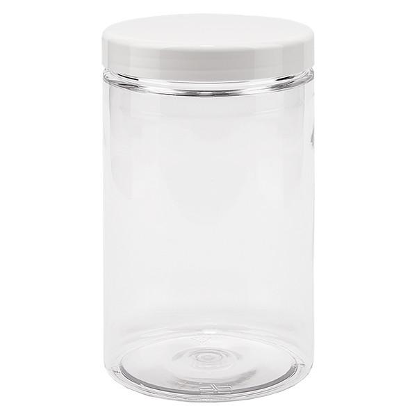 PET pot met schroefdeksel 400 ml helder incl. wit deksel