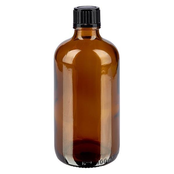 Bruine glazen fles 100ml met zwart druppelsluiting 1mm St