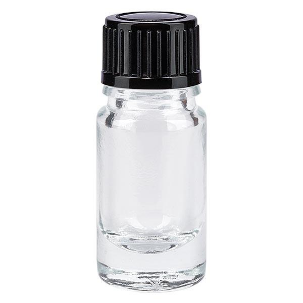 Helder glazen flessen 5ml met zwart schroefsluiting St