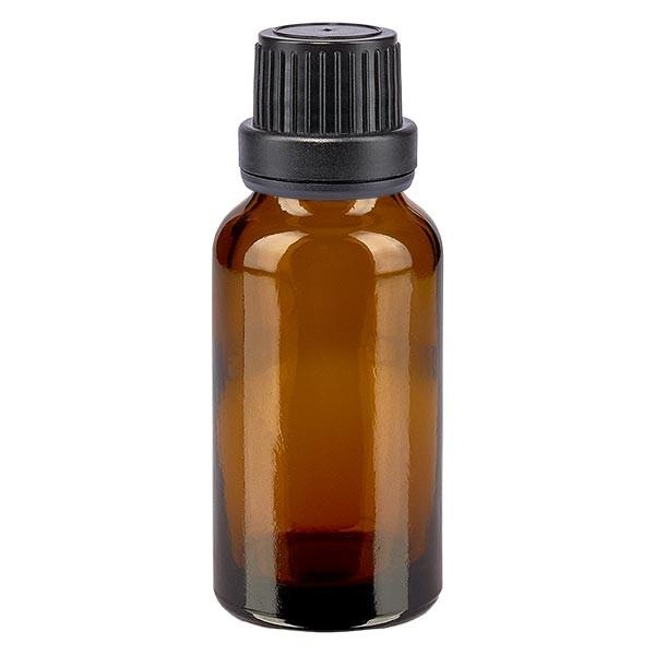 Bruine glazen fles 20ml met zwart schroefsluiting dicht. VR