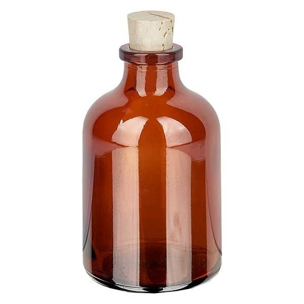 Injectiefles bruin glas 50ml met kurk 11/14mm