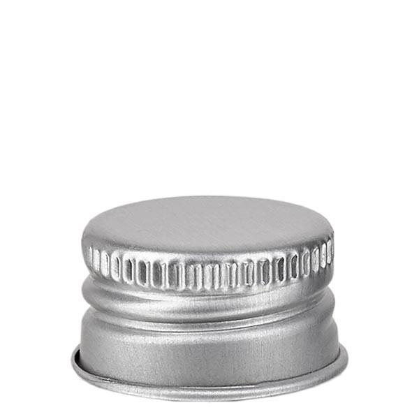 Schroefsluiting 18 mm zilver aluminium geribbeld met afgeronde rand en afdichtplaatje