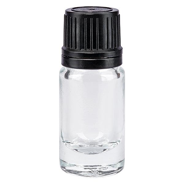 Helder glazen flessen 5ml met wit druppelsluiting 1mm VR