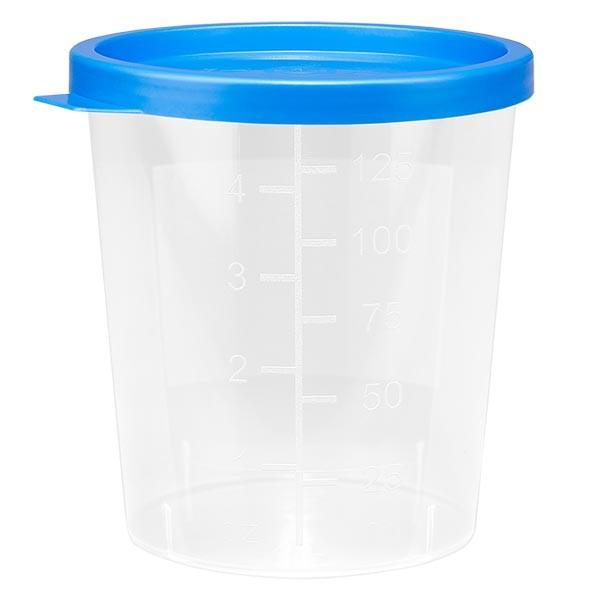 Urinebeker blank 125ml met blauw klikdeksel
