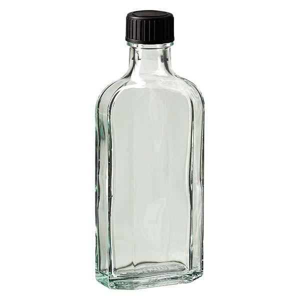 125 ml witte meplatfles met DIN 22 monding, inclusief schroefsluiting DIN 22 zwart van EPE