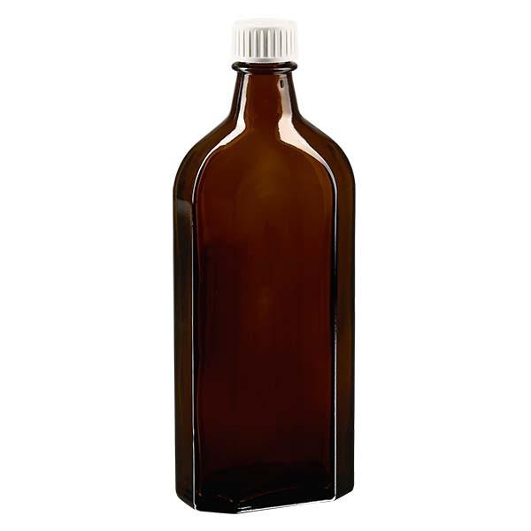 250 ml bruine meplatfles met DIN 22 monding, inclusief schroefsluiting DIN 22 wit met PE-schuiminzetstuk