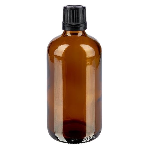 Bruine glazen fles 100ml met zwart schroefsluiting uitgietring VR