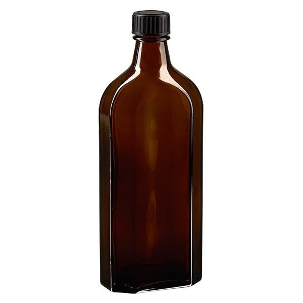 250 ml bruine meplatfles met DIN 22 monding, inclusief schroefsluiting DIN 22 zwart van LKD