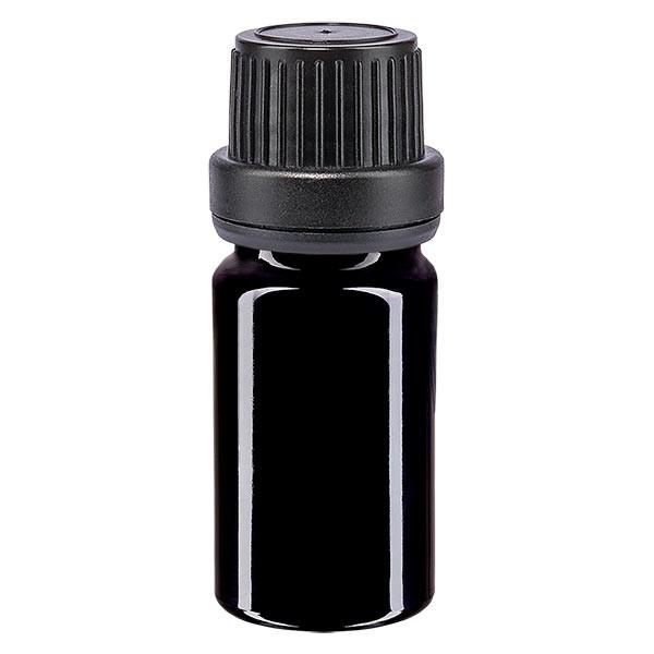 Violetglas fles 5ml DIN 18 met zwart schroefsluiting dicht. VR