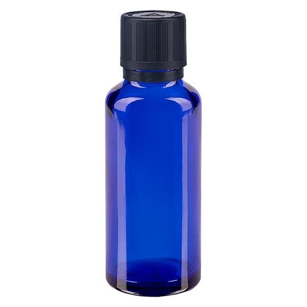 Blauwe glazen flessen 30ml met zwart druppelsluiting kinderslot Bliw VR