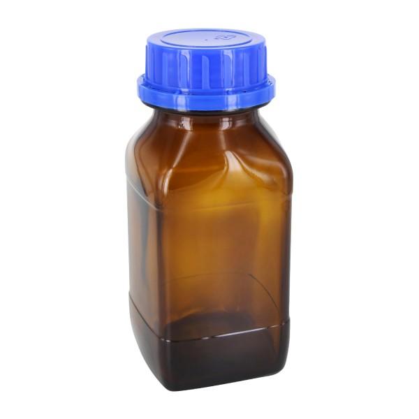 500 ml vierkante fles met wijde hals bruin glas, incl. schroefsluiting VR DIN54 blauw met cone afdichting