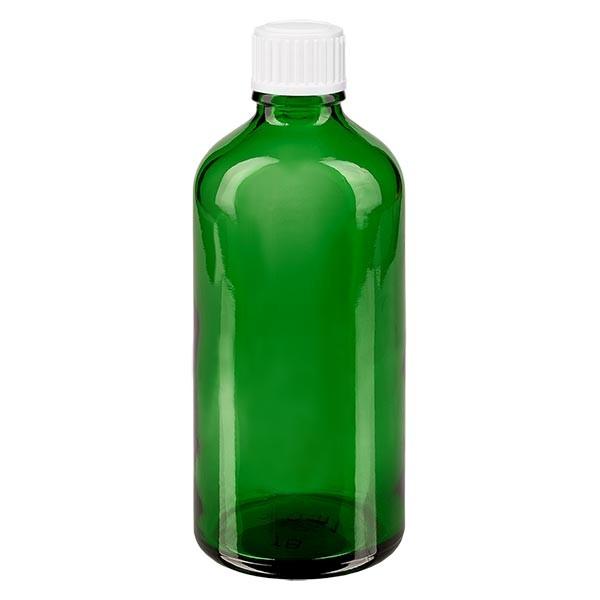 Groenen glazen flessen 100ml met wit schroefsluiting globuli uitgietring St