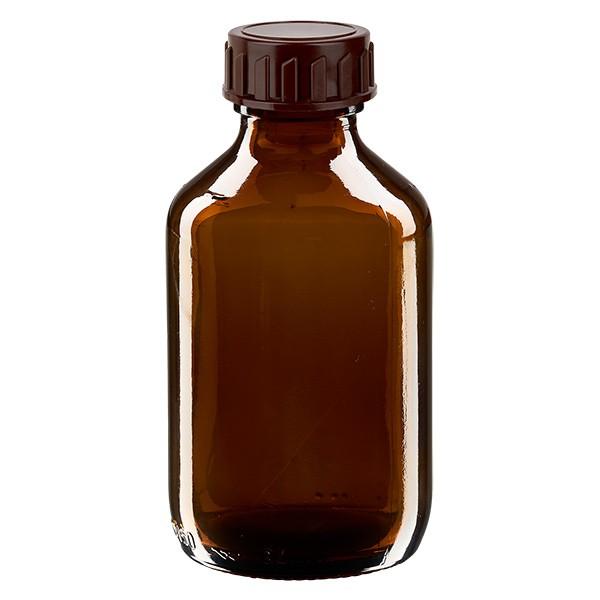 150ml Euro-medicijnfles bruin met bruine schroefsluiting