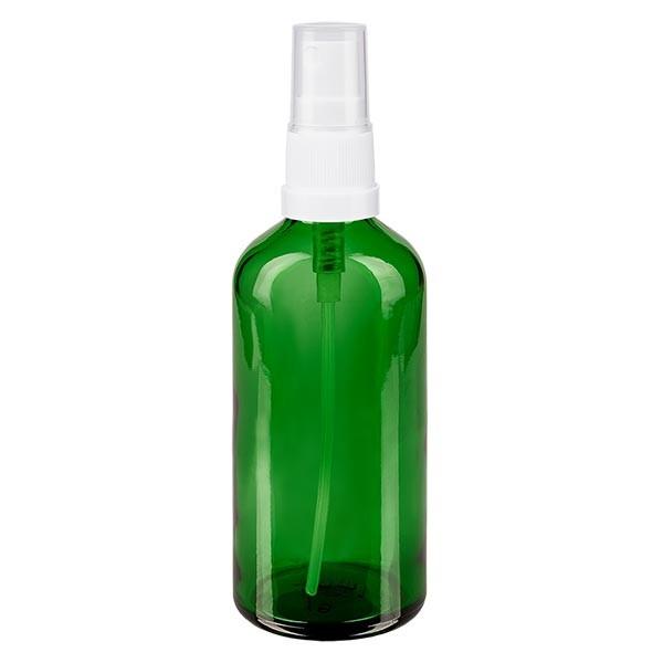 Groenen glazen flessen 100ml met wit pompverstuiver