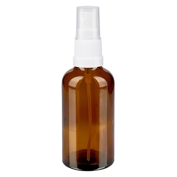 Bruin glazen flessen 50ml met wit pompverstuiver