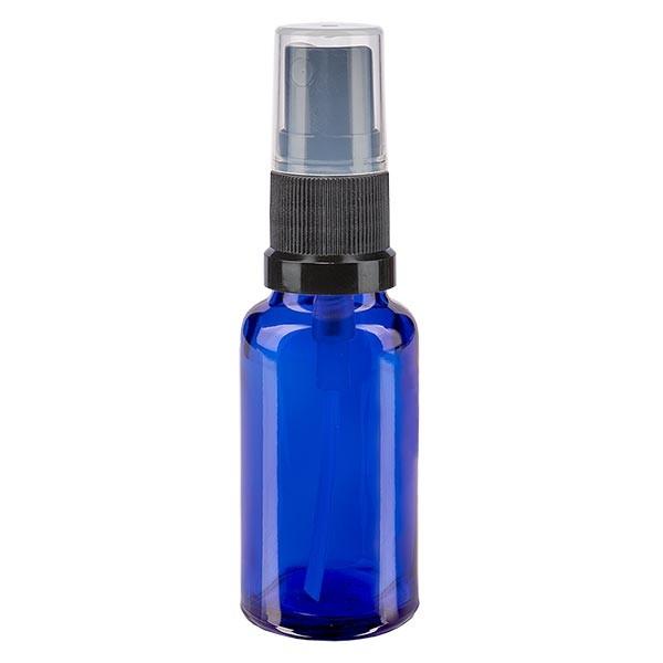 Blauwe glazen flessen 20ml met zwart pompverstuiver
