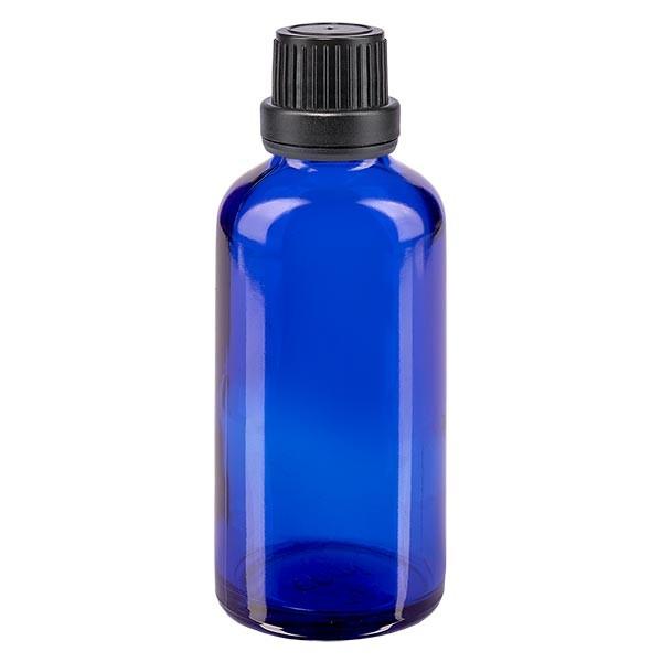 Blauwe glazen flessen 50ml met zwart schroefsluiting dicht. VR