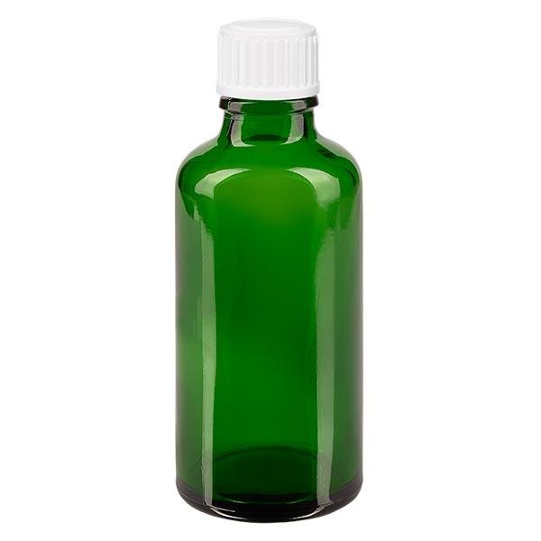 Groenen glazen flessen 50ml met wit schroefsluiting globuli uitgietring St