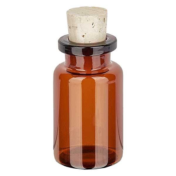 Injectiefles bruin glas 10ml met kurk 11/14mm