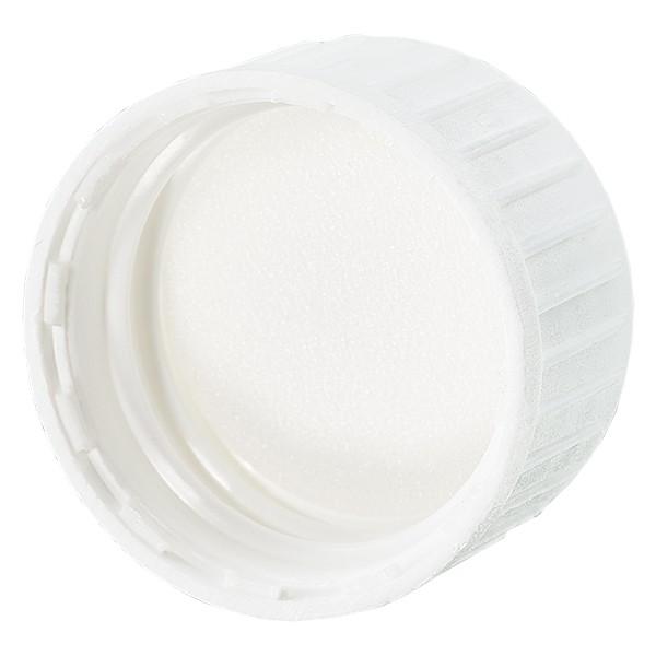 Schroefsluiting DIN 22 wit van PP met PE-schuiminzet